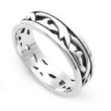 Heraldic Scrollwork Slender Silver Ring